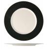 Seis unidades de B'GHEST 01170415 Alumi plato presentación con borde negro ø32 cm