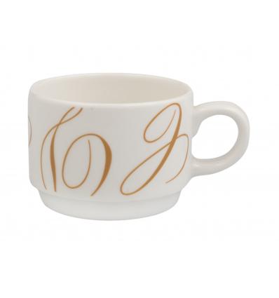 Seis unidades de B'GHEST 01170184 Taza cafe 15 cl swirl ocre alcala