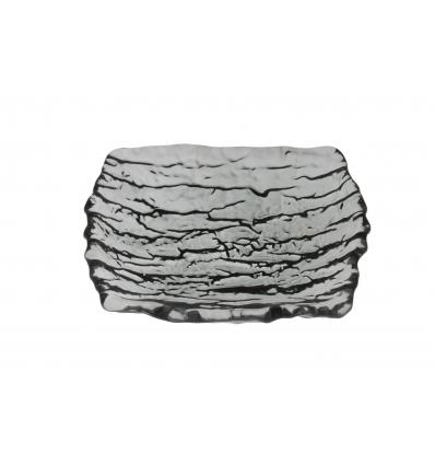Seis unidades de ARDACAM 6131 Ramos plato rectangular negro transparente 14x12 cm