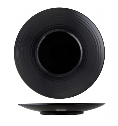 Seis unidades de ROSENHAUS 01010465 Vulcanus plato hondo negro brillo y ala mate ø30 cm