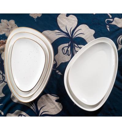ROSENHAUS 01010472 White fuente irregular-oval 22.5x13 cm happy