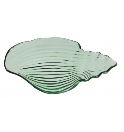 Seacone plato caracola verde transparente 29x18 cm