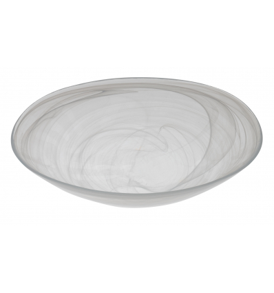 Atlas bol oval transparente alabaster blanco 32x21 cm