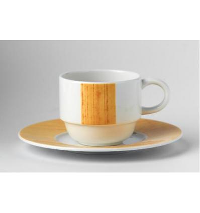 Glubel taza café/leche 14 cl blanco con raya vertical amarillo rayado