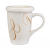 Taza mug con tapa 27 cl decoración swirl ocre