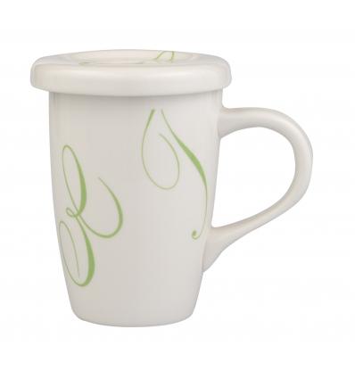 Taza mug con tapa 27 cl decoración swirl verde