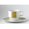 Glubel taza café/leche 14 cl blanco con raya vertical verde rayado