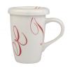 Taza mug con tapa 27 cl decoración swirl rojo
