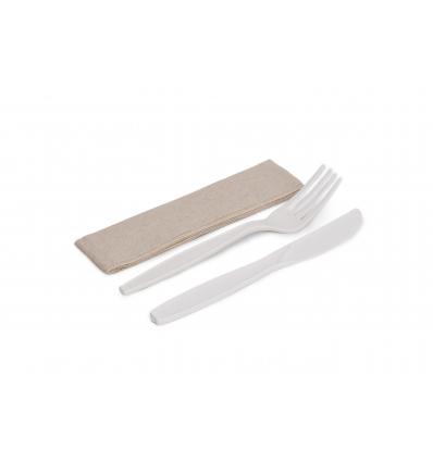BETIK 001010404 Set de cuchillo, tenedor y servilleta de maíz. 50 unidades.