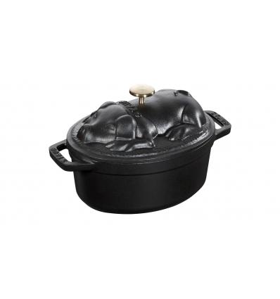 LOS GEMELOS STAUB 40500-171-0 Cocotte STAUB oval negra de hierro colado . Diametro: 17cm