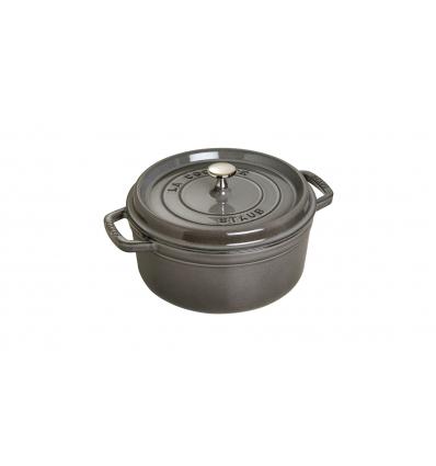LOS GEMELOS STAUB 40500-246-0 Cocotte STAUB redonda gris grafito de hierro colado . Diametro: 24cm