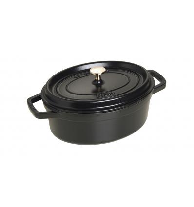 LOS GEMELOS STAUB 40500-271-0 Cocotte STAUB oval negra de hierro colado . Diametro: 27cm