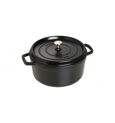 LOS GEMELOS STAUB 40509-310-0 Cocotte STAUB redonda negra de hierro colado . Diametro: 26cm