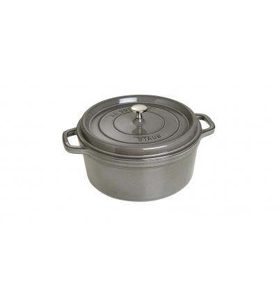 LOS GEMELOS STAUB 40509-314-0 Cocotte STAUB redonda gris grafito de hierro colado . Diametro: 28cm
