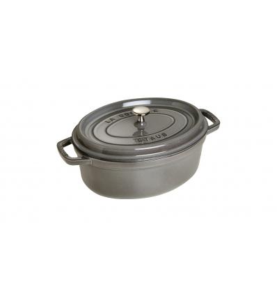 LOS GEMELOS STAUB 40509-317-0 Cocotte STAUB oval gris grafito de hierro colado . Diametro: 29cm