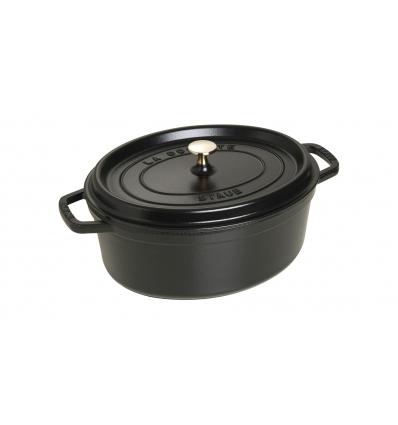 LOS GEMELOS STAUB 40509-319-0 Cocotte STAUB oval negra de hierro colado . Diametro: 31cm