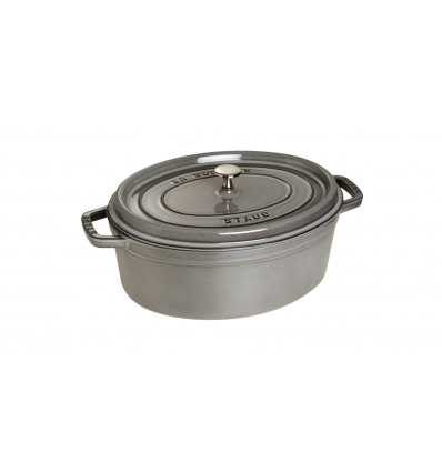 LOS GEMELOS STAUB 40509-320-0 Cocotte STAUB oval gris grafito de hierro colado . Diametro: 31cm