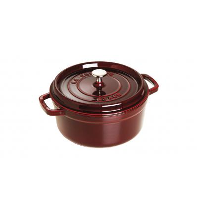 LOS GEMELOS STAUB 40509-359-0 Cocotte STAUB redonda granadina de hierro colado . Diametro: 26cm