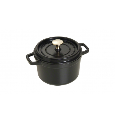 LOS GEMELOS STAUB 40509-480-0 Cocotte STAUB redonda negra de hierro colado . Diametro: 16cm
