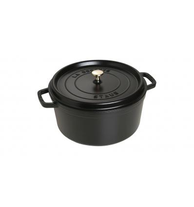 LOS GEMELOS STAUB 40509-863-0 Cocotte STAUB redonda negra de hierro colado. Diametro: 30cm