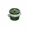 LOS GEMELOS STAUB 40510-603-0 Cocotte STAUB redonda albahaca de hierro colado con vaporera. Diametro: 26cm