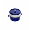 LOS GEMELOS STAUB 40510-604-0 Cocotte STAUB redonda azul oscuro de hierro colado con vaporera. Diametro: 26cm