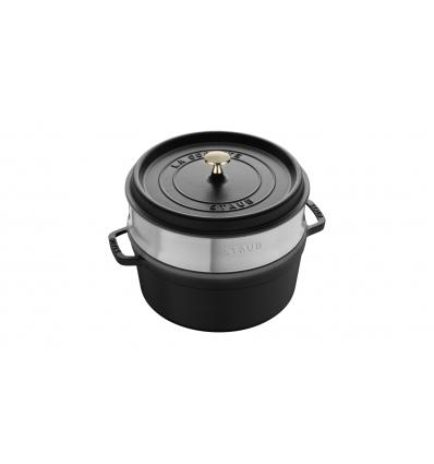 LOS GEMELOS STAUB 40510-606-0 Cocotte STAUB redonda negra de hierro colado con vaporera. Diametro: 26cm