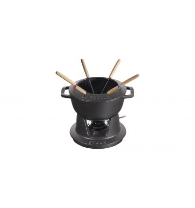 LOS GEMELOS STAUB 40511-971-0 Juego de fondue negro STAUB. Diametro: 18cm