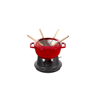 LOS GEMELOS STAUB 40511-974-0 Juego de fondue cereza STAUB. Diametro: 18cm