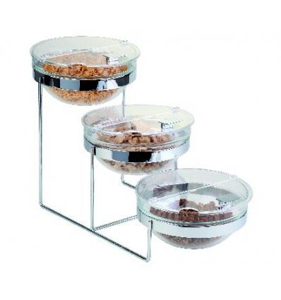 APS 11795 Sunday expositor para buffet 3 bols transparente con tapa