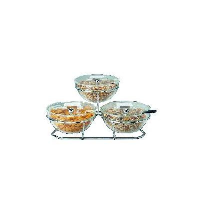 APS 11892 Big expositor cereales buffet con 3 bols 50x50x18 cm