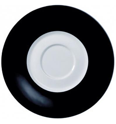 Glubel plato moka/café 13.5 cm banda negro